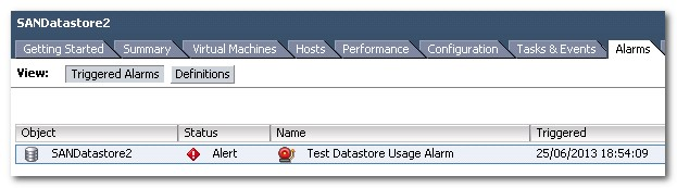 Configuring and Analysing vSphere Datastore Alarms