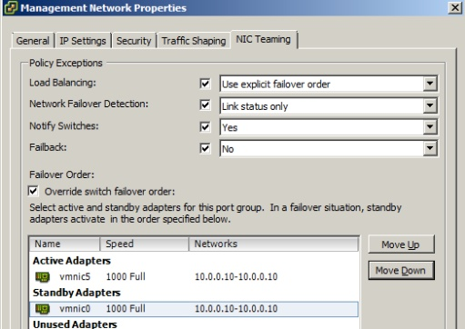 NIC Teaming Failover Types and Related Physical Network Settings