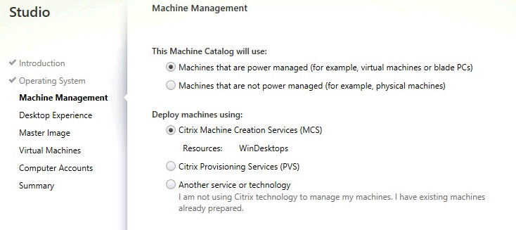 Citrix XenDesktop 7 5 – Creating a Machine Catalog